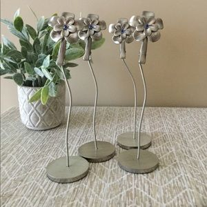 4 Silver a real Flower Photo Place Card Holders